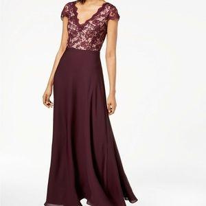 CK Purple V-neck Lace & Chiffon Gown Formal  Dress